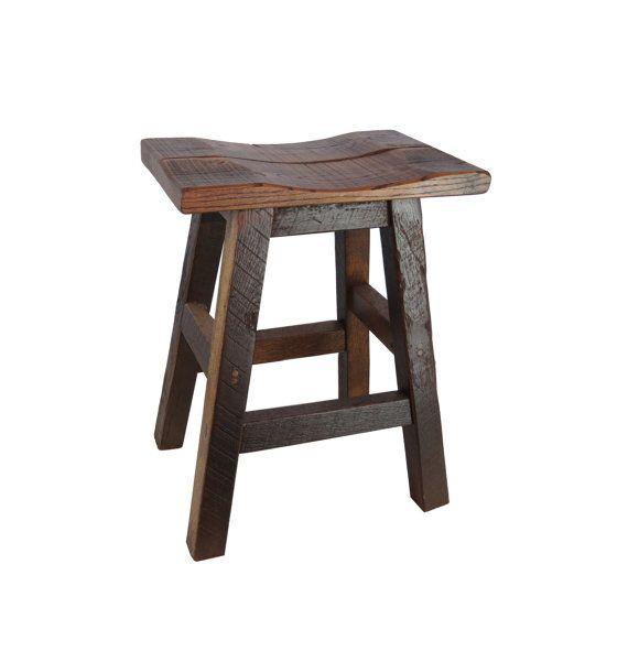 Rustic Hickory Saddle Seat Bar Stool 24 Or 30 Inch Wood Bar