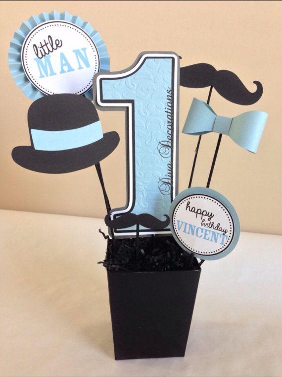 Little man mustache birthday party centerpiece by