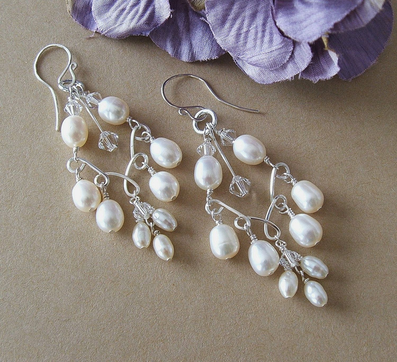 Handwired Bridal Chandelier Earrings Silver by