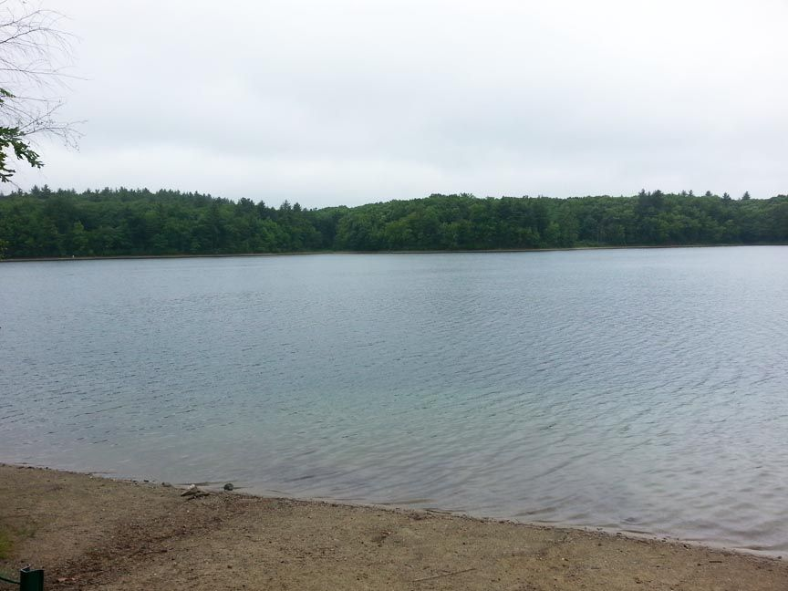 The beach along Thoreau's famous Walden Pond.