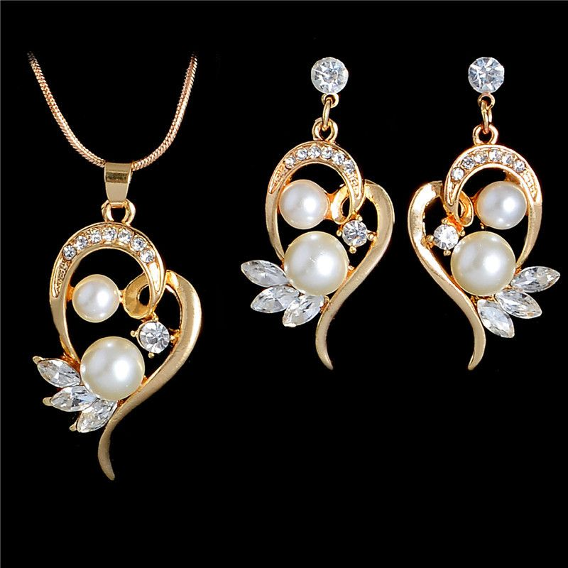 Fashion Simulated Pearl Jewelry Sets For Wedding Cute Flower Stud Earrings Crystal Wings Pendant Necklace Gold