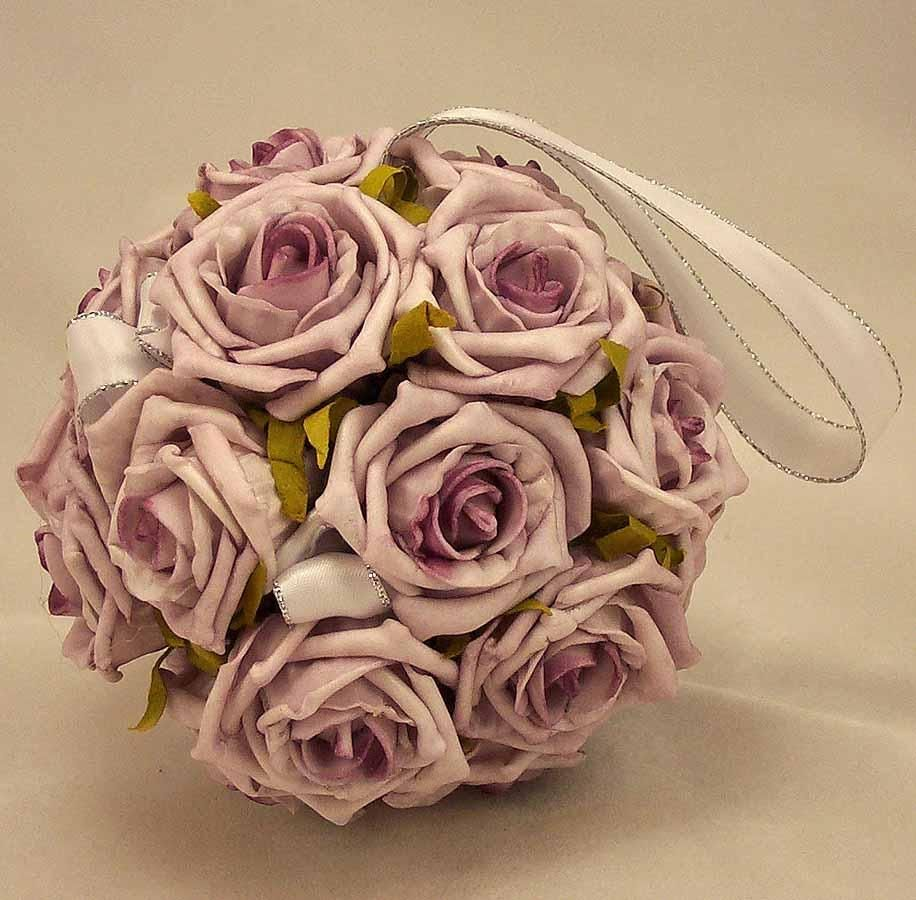 Pomanders lilac rose flowergirls pomander ball silk wedding lilac rose pomander ball put on a glass cylinder with crystals dripping from it for me use fake flowers to decrease cost or something local and use to mightylinksfo Images