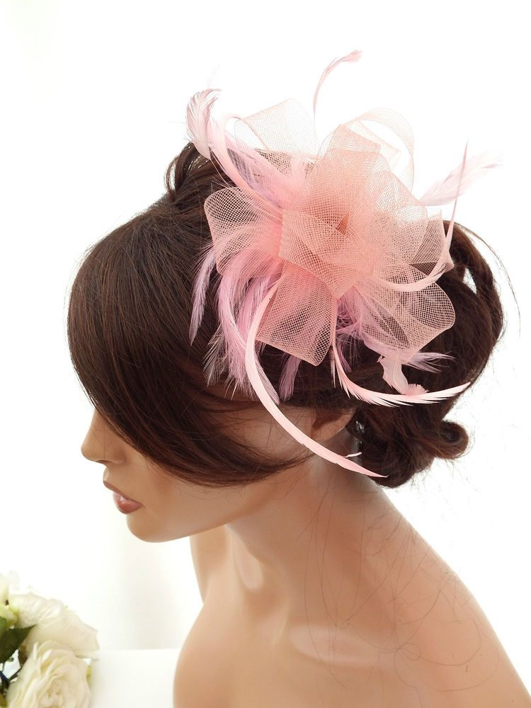 Smoky Pink Net Bow And Feather Hair Comb Slide Fascinator Weddings Races Prom