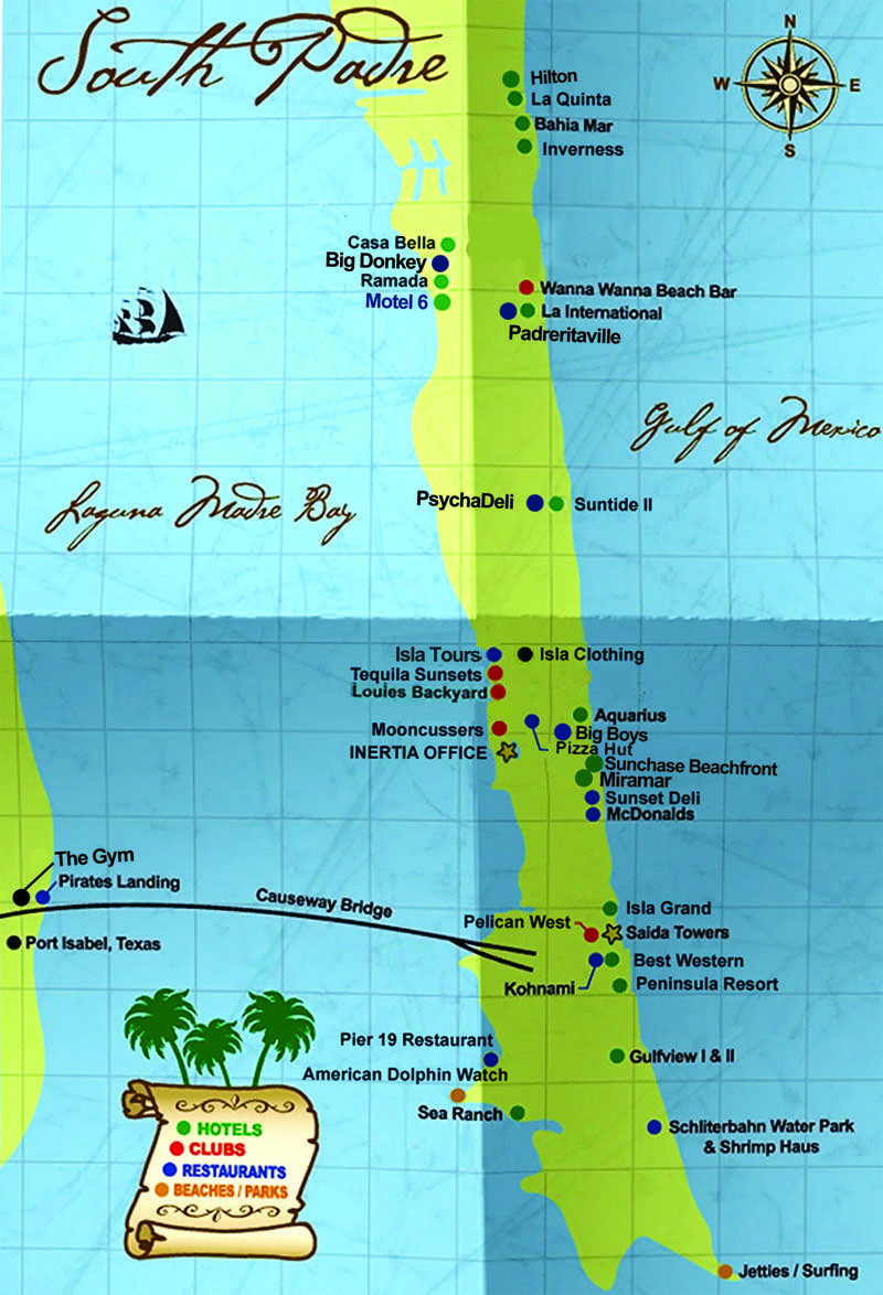 South Padre Island Map Hotels Als