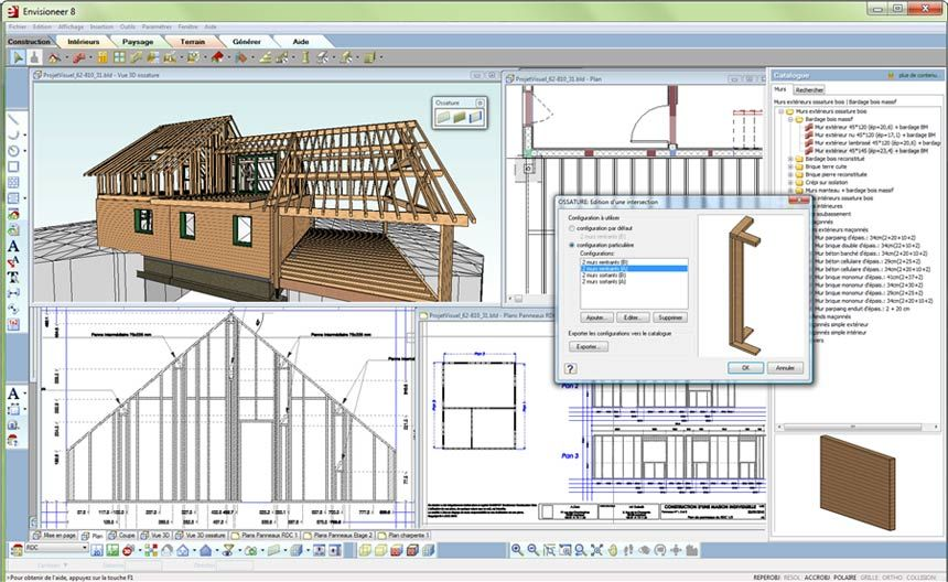 Logiciel de CAO 2D 3D de construction en bois - ADOC - Envisioneer - Logiciel De Maison 3d