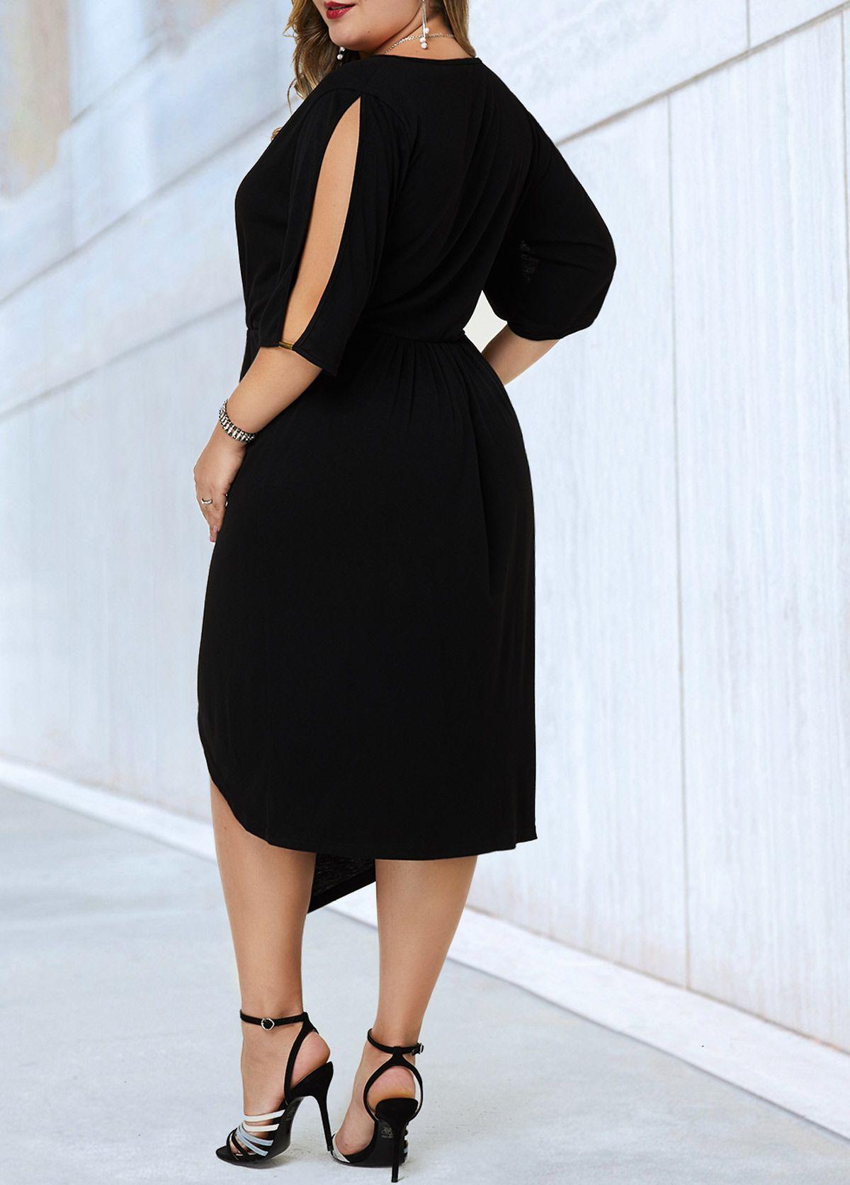 V Neck Split Sleeve Black Plus Size Dress Rotita Com Usd 28 11 Plus Size Black Dresses Black Plus Size Dress Plus Size Outfits [ 1674 x 1200 Pixel ]