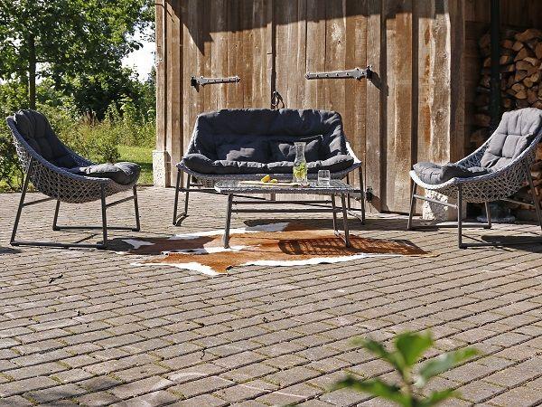 Licht Grijze Stoel : Lichtgrijze stoel bank loungeset met landelijke kussens balkon