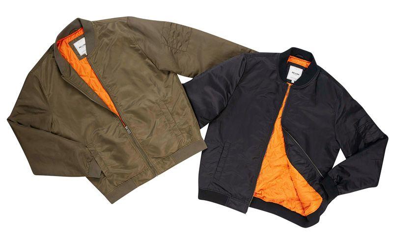 Only & Sons -pilottitakki, 49 €. Värit: musta ja vihreä, molemmissa oranssi vuori. Norm. 69,95 €.  AUKIA, 4. KRS