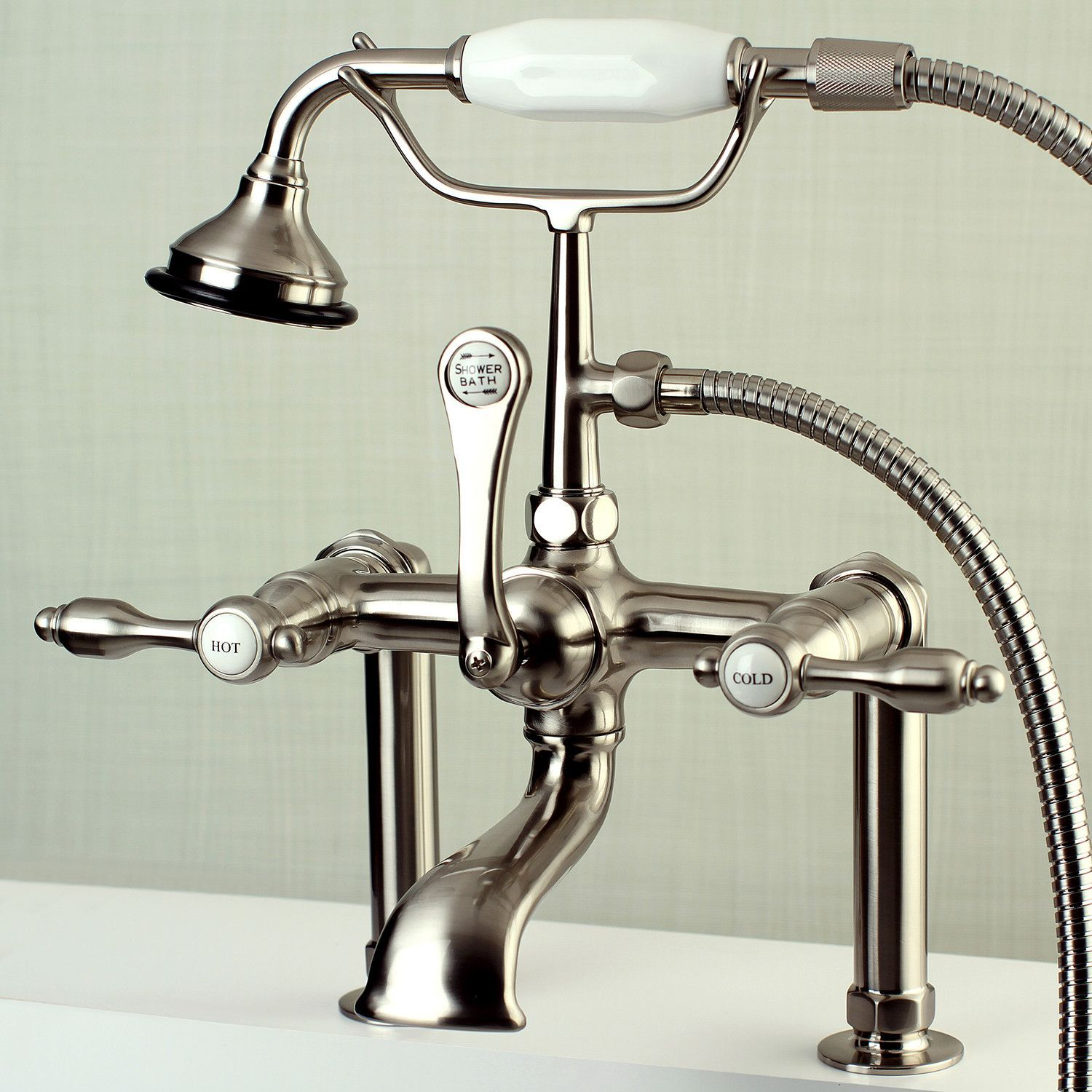 Tudor Triple Handle Deck Mounted Clawfoot Tub Faucet Trim With Diverter And Handshower Clawfoot Tub Faucet Clawfoot Tub Tub Faucet