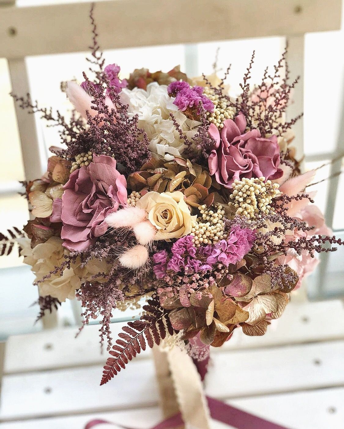 Ramo De Novia De Flores Preservadas En Tonos Rosa Malva Beige