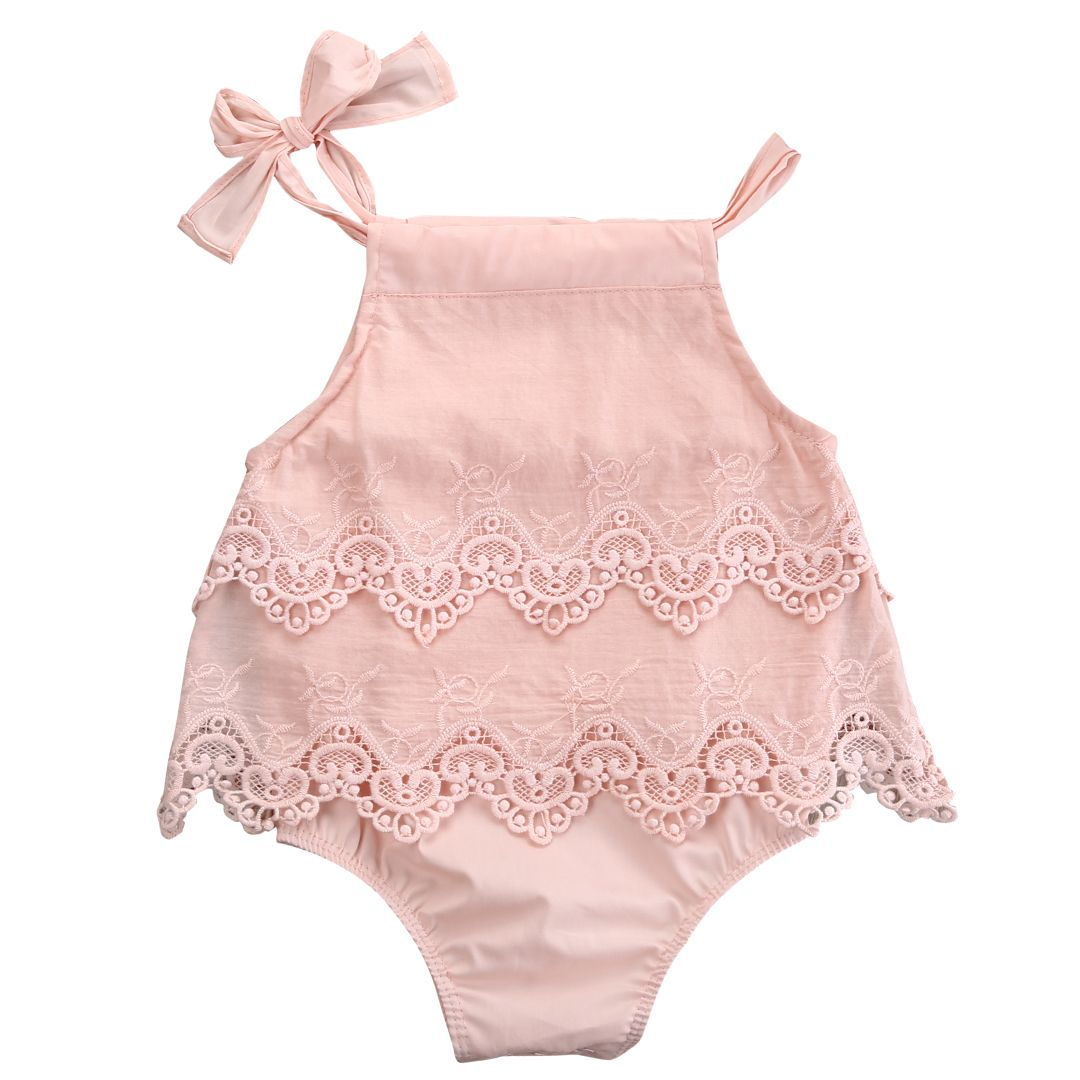 960cd02cea1b Newborn Baby Girls Lace Sleeveless Romper Cotton Jumpsuit Outfit ...