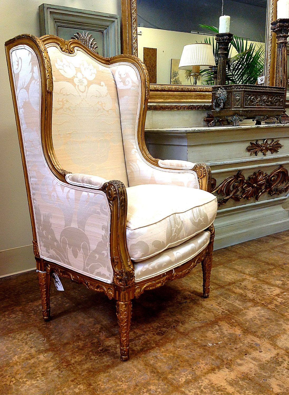 Glamorous Antique Wingback Chair Design Inspiration With Gilt Wood Trim And  Cream Silk Damask Fabric For Chic Living Room. Nice Looking Antique Wingback  ...