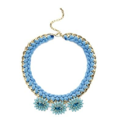 Woven Chain Necklace Crystal Statement