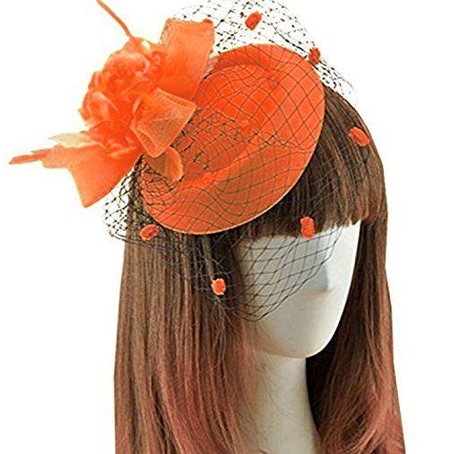 Fascinator Hats Pillbox Hat British Bowler Feather Flower Veil Wedding Orange