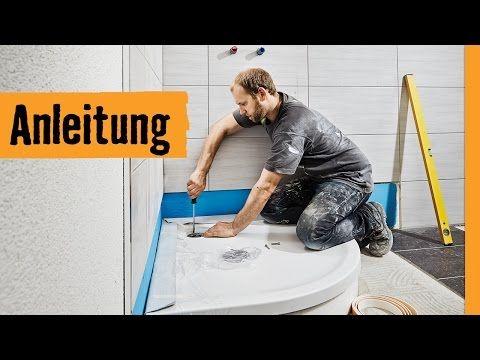 YouTube Dusche einbauen, Wannenträger, Dusche