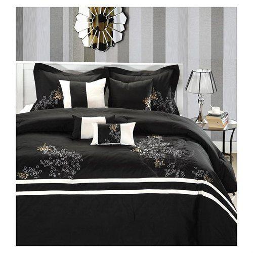 Park Avenue Black, White & Gold 8 Piece Queen Comforter Bed In A Bag Set