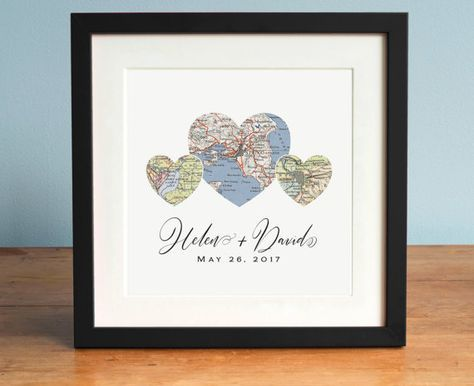 Personalized Three Heart Map Wedding Engagement Or Anniversary