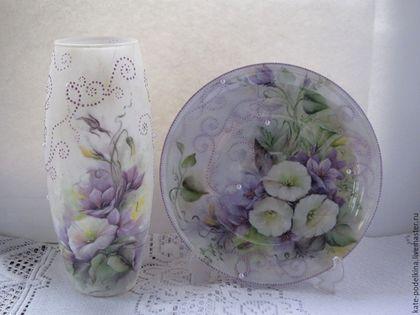 """Вазы ручной работы. Ярмарка Мастеров - ручная работа. Купить Комплект ваза с тарелкой """" Вьюнок."""". Handmade. Белый"""