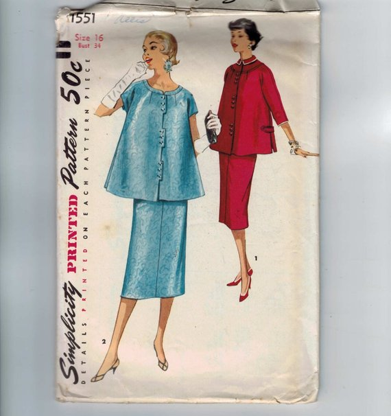 aa826795aee 1950s Vintage Sewing Pattern Simplicity 1551 Junior Misses Maternity Two  Piece Dress Suit Skirt Top