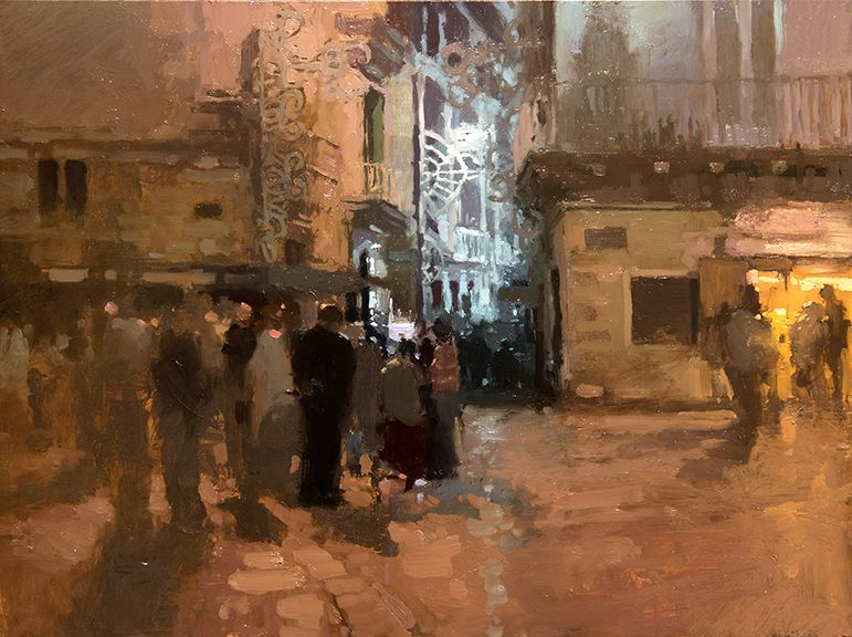 Jeremy Mann, Sera a Martina Franca, Oil on Panel, 9 x 12 inches, 2014