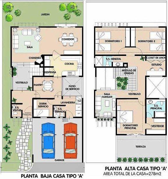 Planos de casa de 2 plantas 278m2 donde la sala comedor for Escaleras en planta