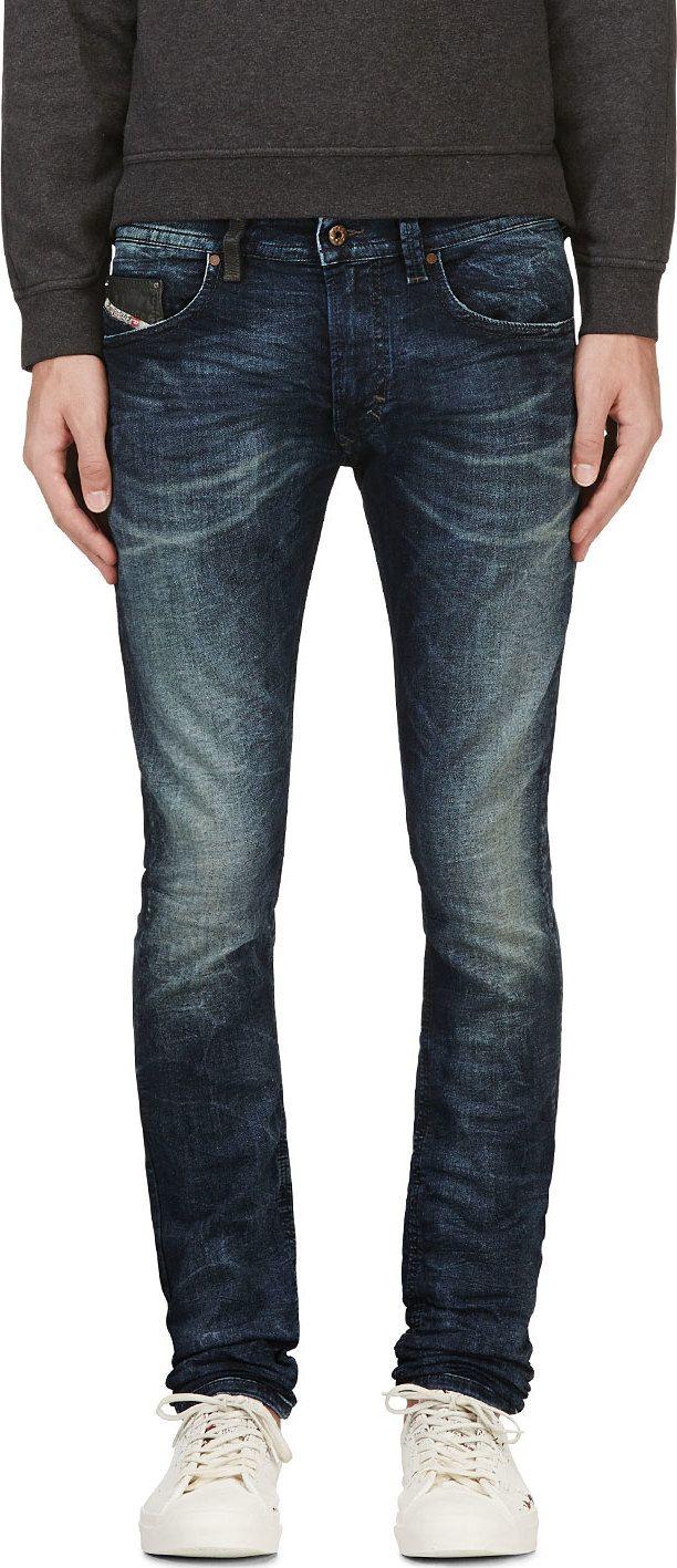 5ede493d056 Diesel  Blue Faded Stretch Denim Thavar-Ne Jogg Jeans