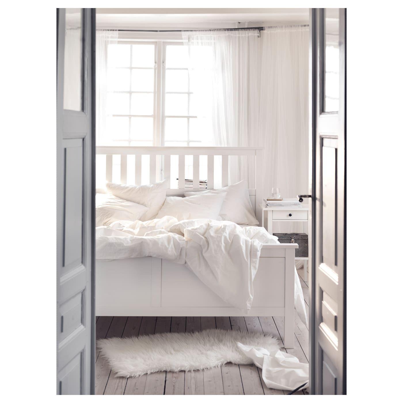 Hemnes Cadre De Lit Teinté Blanc Leirsund Maison Et