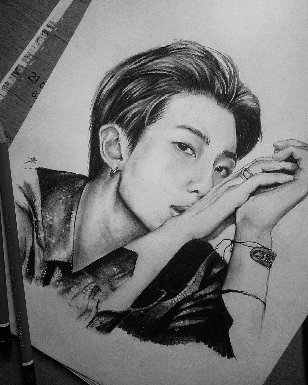 A Imagem Pode Conter 1 Pessoa Desenho Bts Drawings Bts Fanart