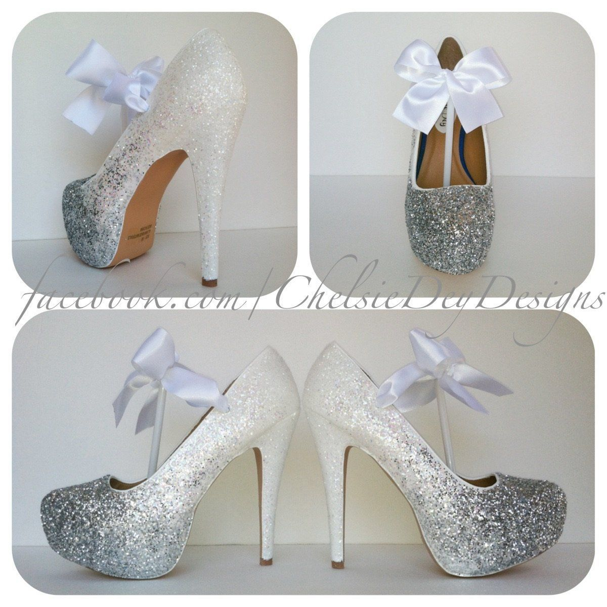 White and silver ombre glitter high heels angel white wedding shoes