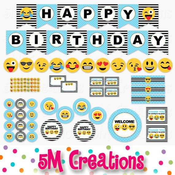 Emoji Birthday Party Printable Decorations