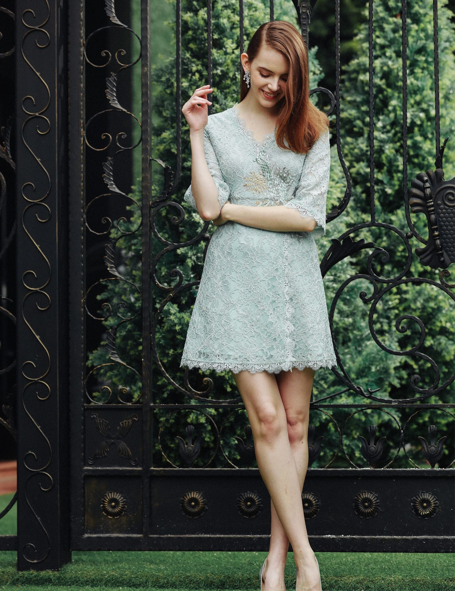 Green floral lace embroidery half sleeve short dress lace
