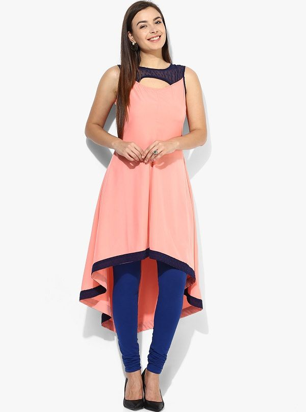 Aks Solid Peach Crepe Keyhole Neck High Low Kurti