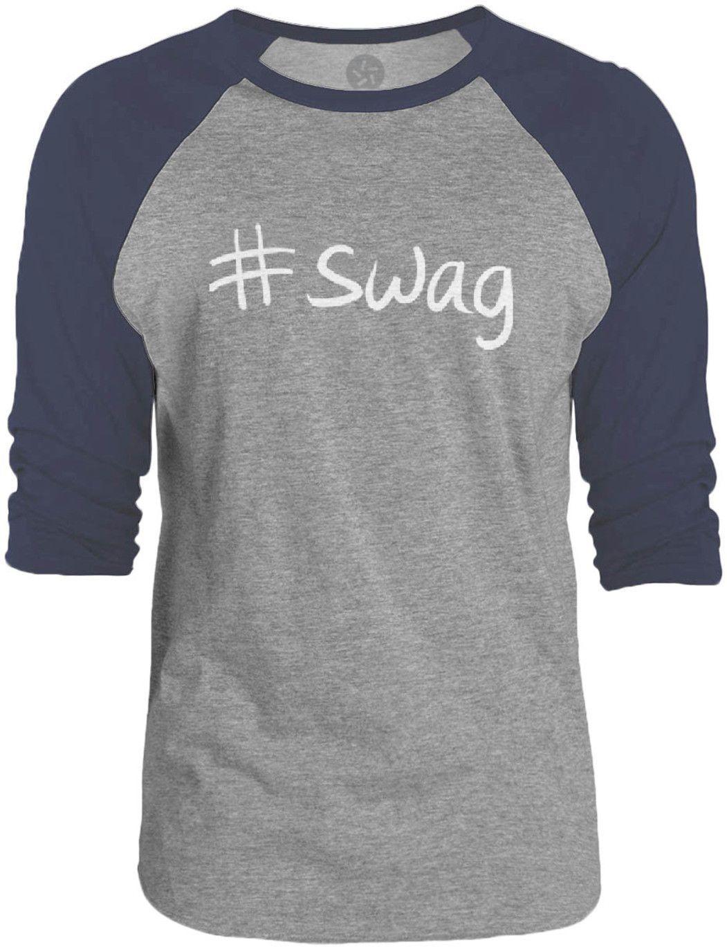 Big Texas Hastag Swag (White) 3/4-Sleeve Raglan Baseball T-Shirt