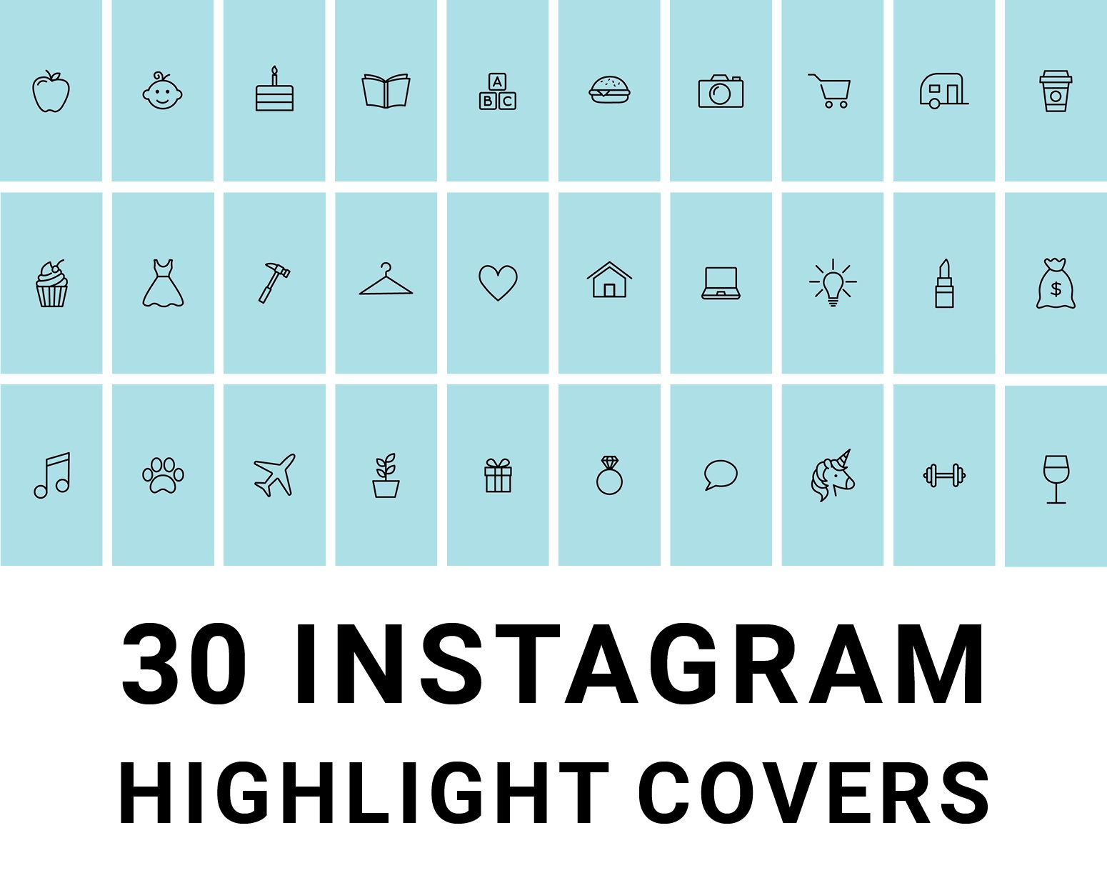 Pack of 30 Blue and Black Instagram Story Highlight Cover