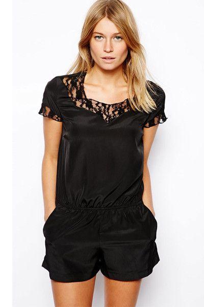 Black Sleek Lace Insert Playsuit LAVELIQ