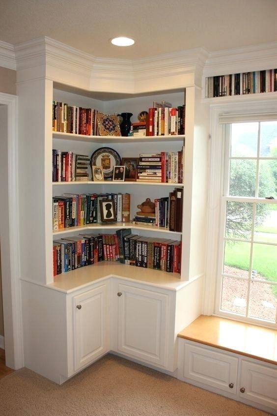 Window Bookshelf Wrap Around Shelves With Cabinet Doors And That Seat Needs A Cushion Design Ideas Corner Storage Under