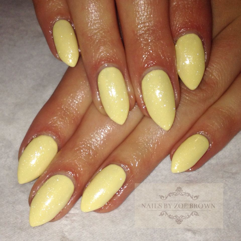 yellow almond pointed nail cnd