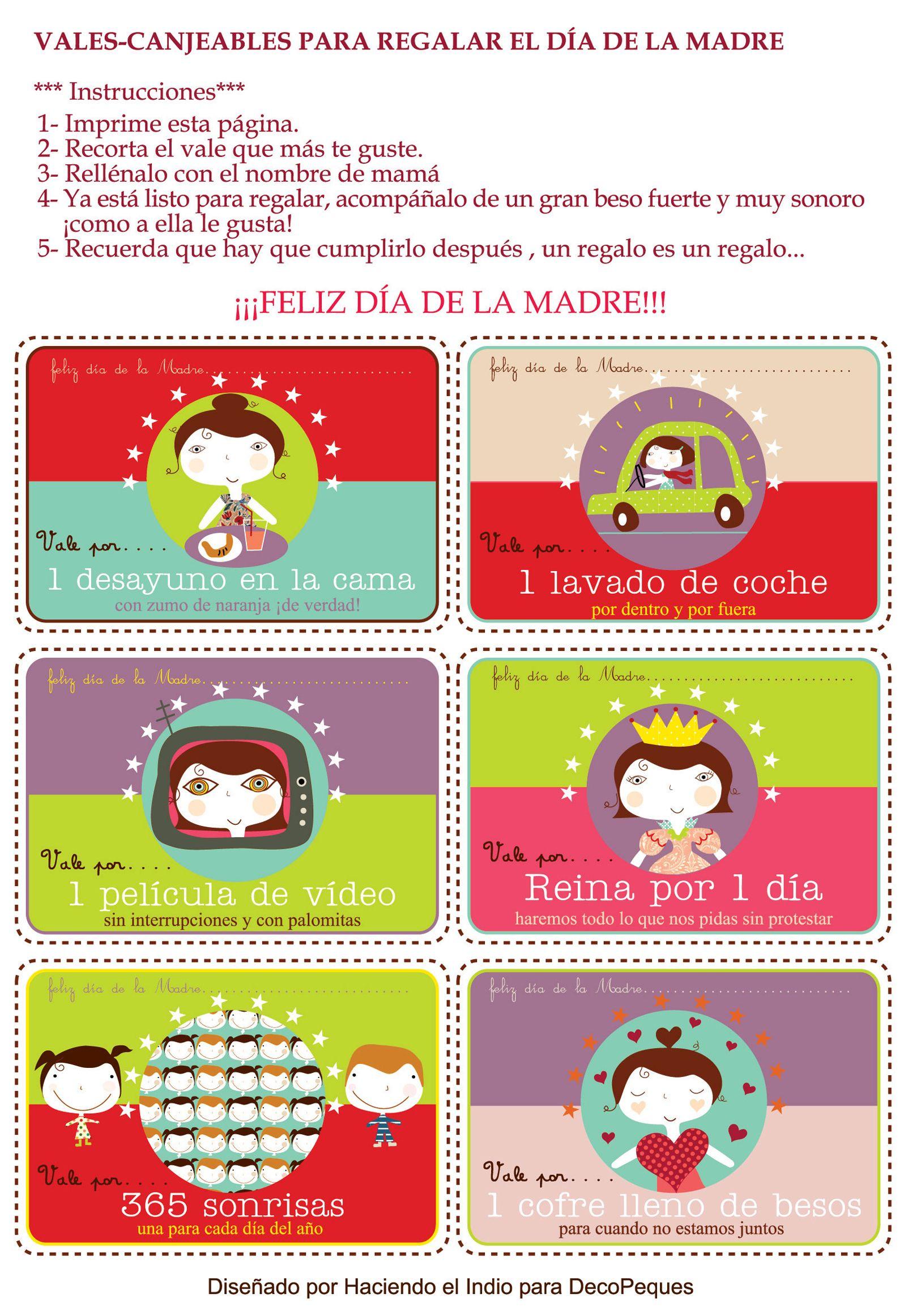 Vales gratis para regalar el Día de la Madre | Día de la madre, La ...