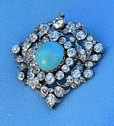 HM's Turquoise and Diamond Brooch. https://www.facebook.com/photo ...
