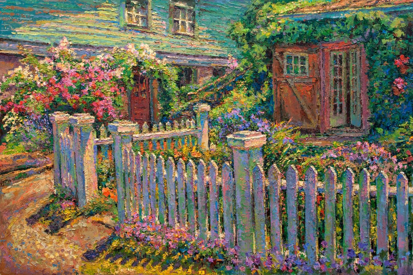 Anoi3h Oil Painting Of The Artists Studio Garden By Leif Nilsson