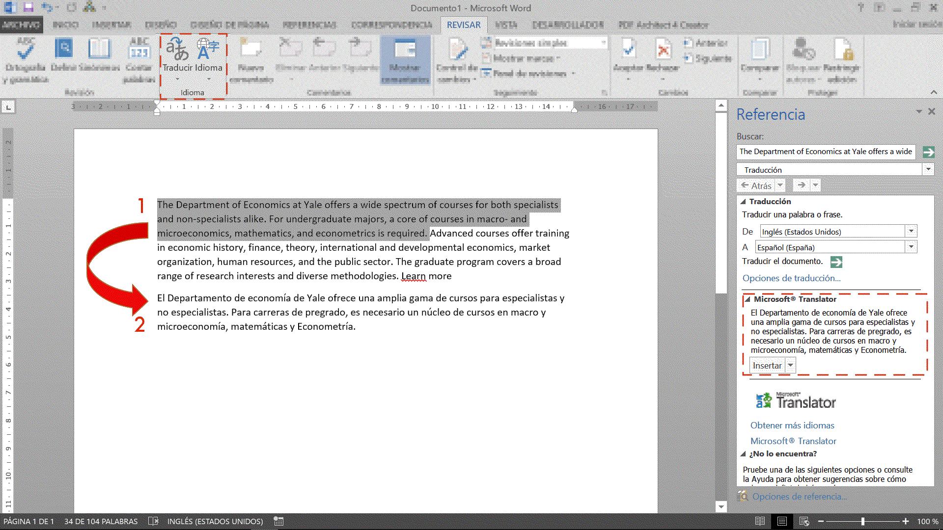 Ejemplo de traducción de un párrafo