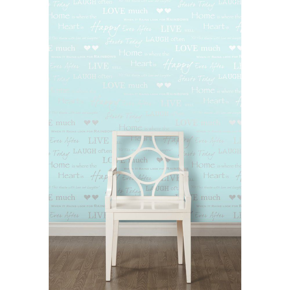 I Love Wallpaper™ Shimmer Wall Quotes Wallpaper Teal