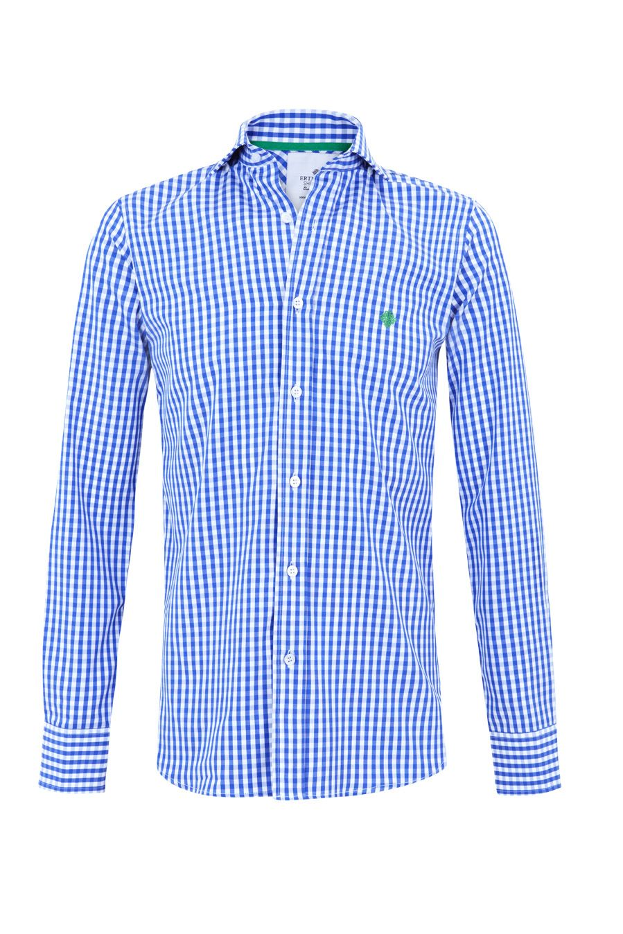"""Blue gingham """"Grant"""" shirt w/ logo embroidered in spring green. 100% cotton Available in Slim Fit & Classic Fit"""