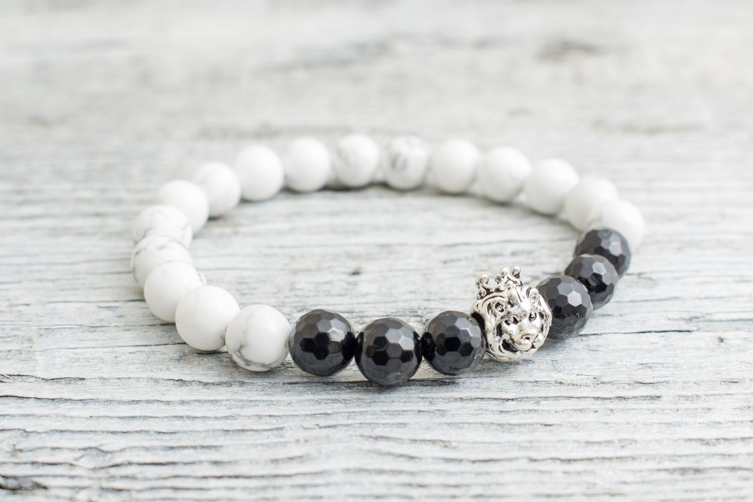 White howlite and black faceted onyx stone beaded sterling