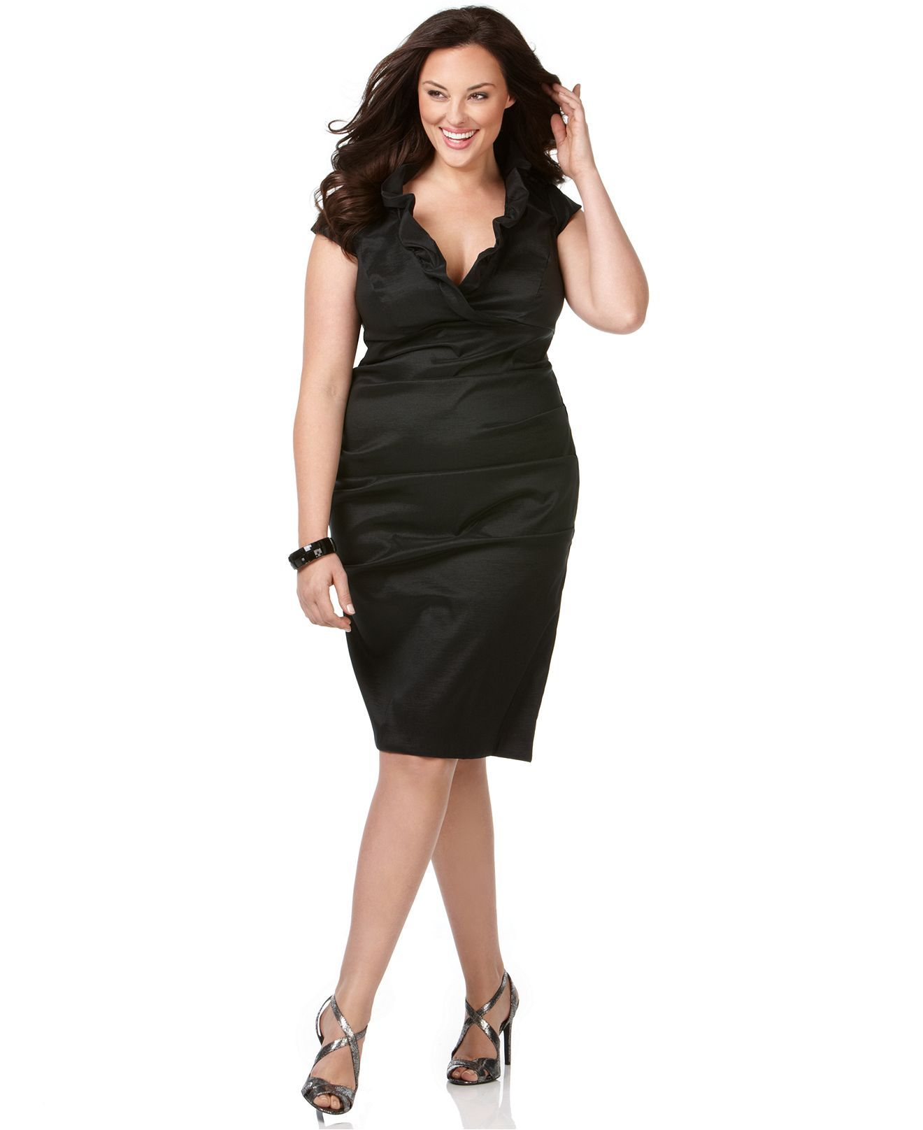 xscape plus size dress, cap sleeve ruffled neckline evening dress