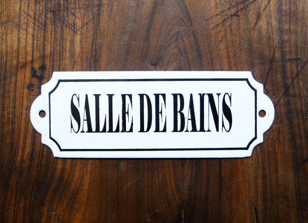 bathroom french enameled sign vintage plaque parisian atmosphere french retro home decor