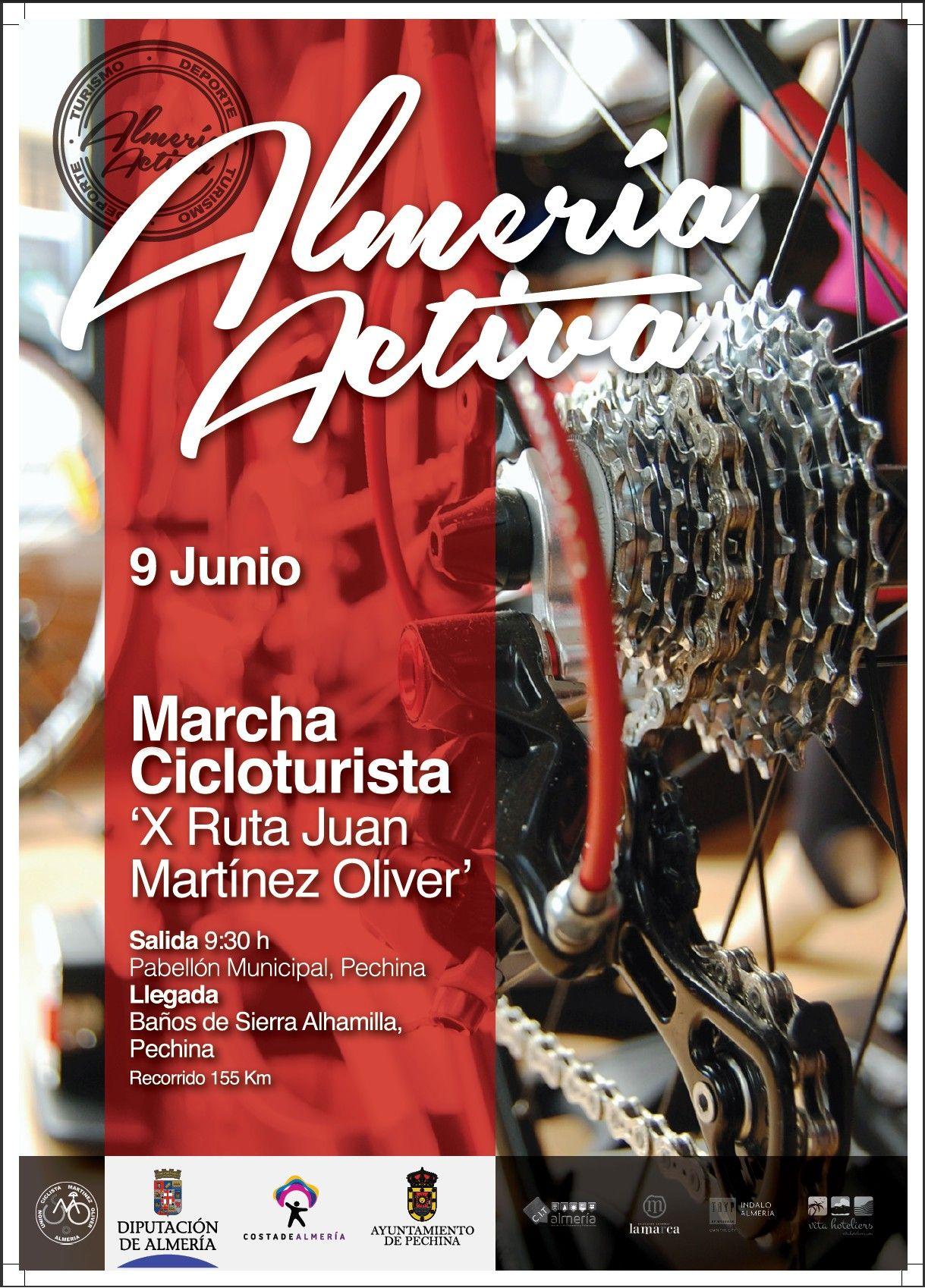 Almería Activa ha organizado la Marcha Cicloturista 'X Ruta Juan Martínez Oliver' en el municipio de Pechina el próximo 9 de junio. ¿Te la vas a perder?