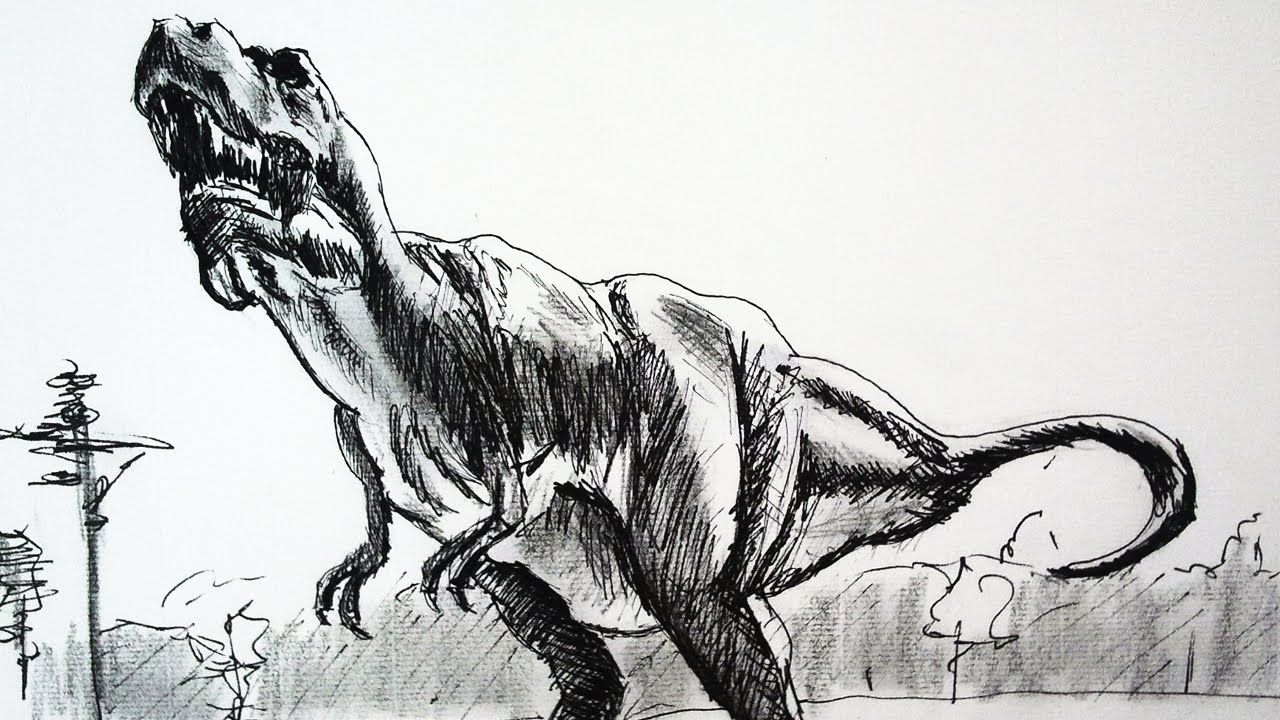 How to draw a t rex dinosaur with pencil and ink speed drawing