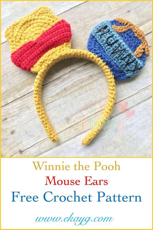 Winnie the Pooh Mouse Ears, Free Crochet Pattern | Crochet ...