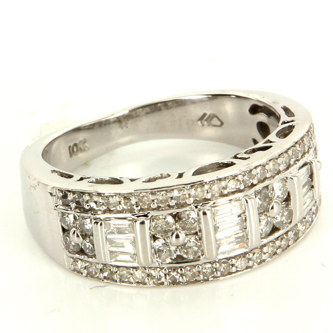 Estate 10 Karat White Gold Diamond Anniversary Band Ring Fine Jewelry Pre Owned Diamond Anniversary Bands Fine Jewelry White Gold Diamonds